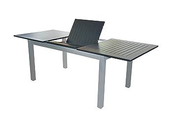 Xxl Voll Aluminium Auszieh Gartentisch Detroit 220 280 X 100 Cm Mit Synchronauszug Von Doppler In Silber Mit Schwarzer Platte