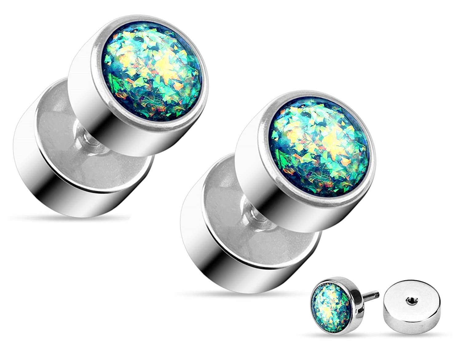 Sold as Pair Pierced Owl Opal Glitter Fake Cheater Plugs Stud Earrings 16g 316L Surgical Steel
