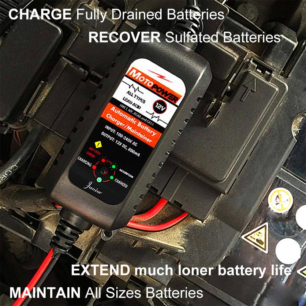 MOTOPOWER MP00207A 12V 2Amp Smart Automatic Battery Charger//Maintainer for Both Lead Acid Batteries and Lithium Ion Batteries