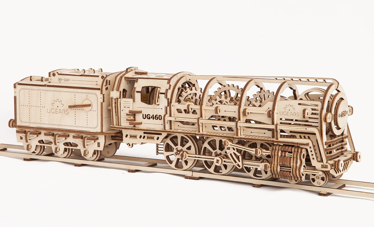 UGears Locomotive with Tender 3D Wooden Model Self Assembling Best Adult and Teens Gift 4