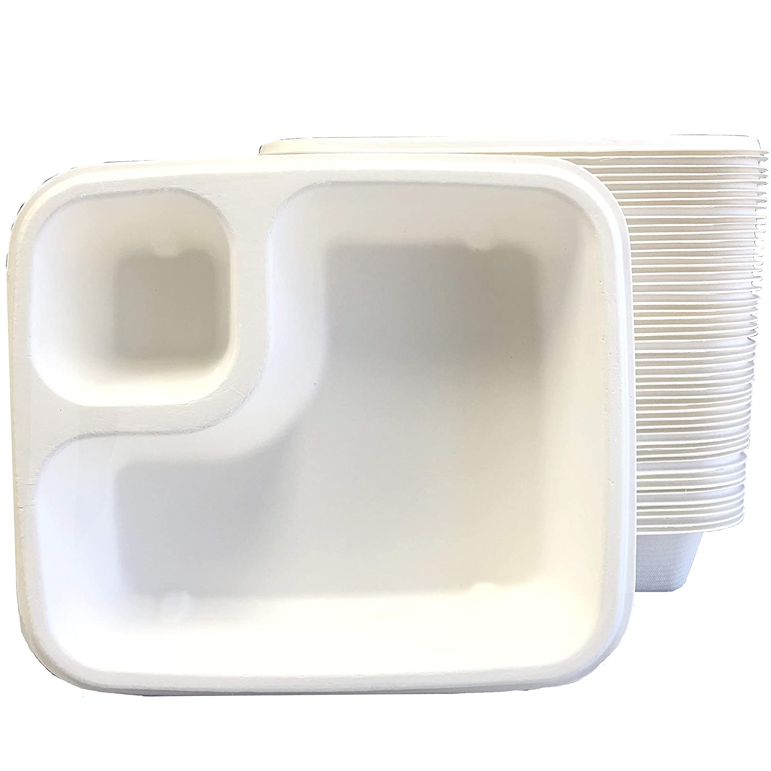 Compostable 2 Compartment Disposable Nacho Food Trays - Sugarcane Bagasse - Biodegradable Eco-Friendly - 50 Pack