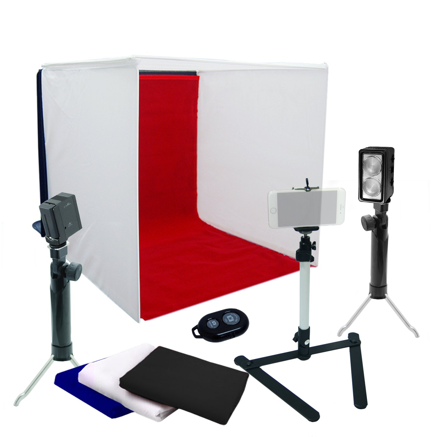 "LS Photography 16"" x 16"" Square Table Top Photo Shooting Tent Kit with LED Photo/Video Lights, Light Stand, Cell Phone Holder Adapter, and Bluetooth Remote Control Shutter, LGG767 by LS Photography"