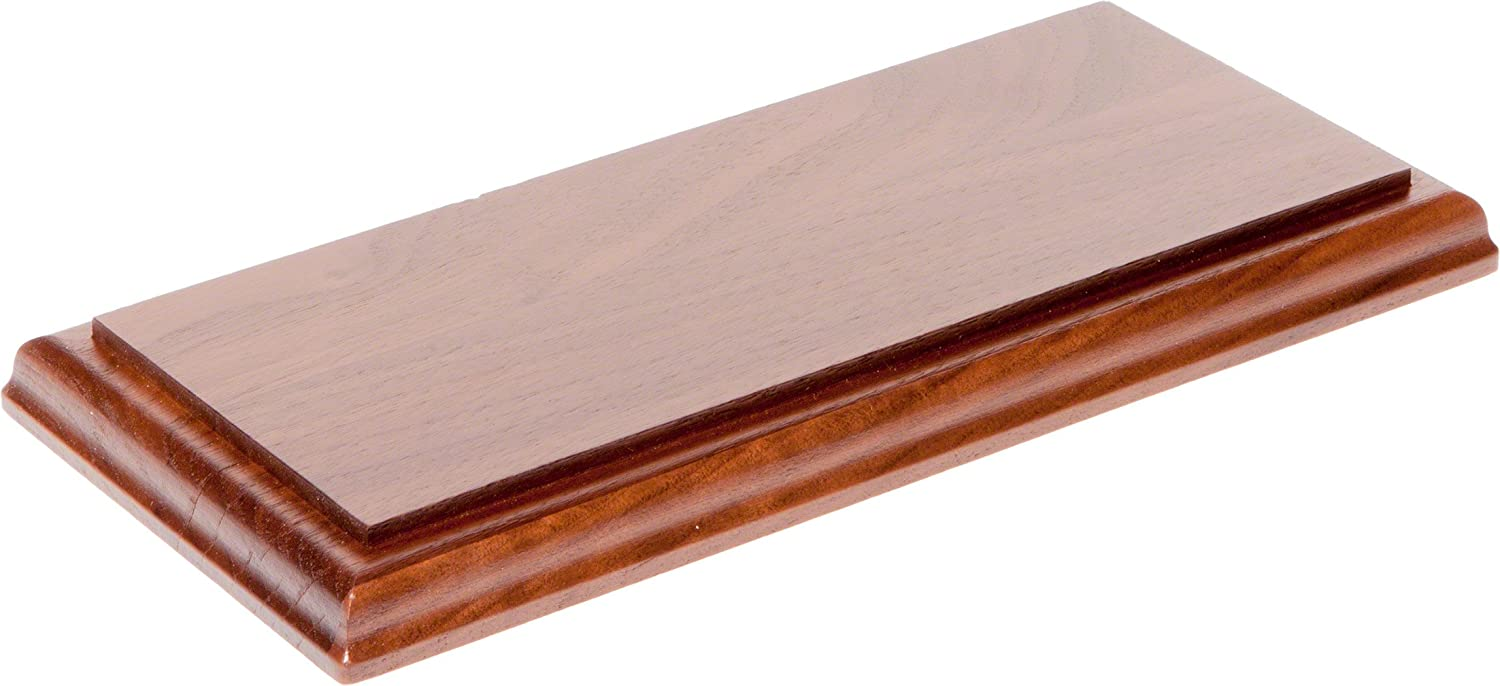 """Plymor Solid Walnut Rectangular Wood Display Base with Ogee Edge, 0.75"""" H x 10"""" W x 5"""" D"""