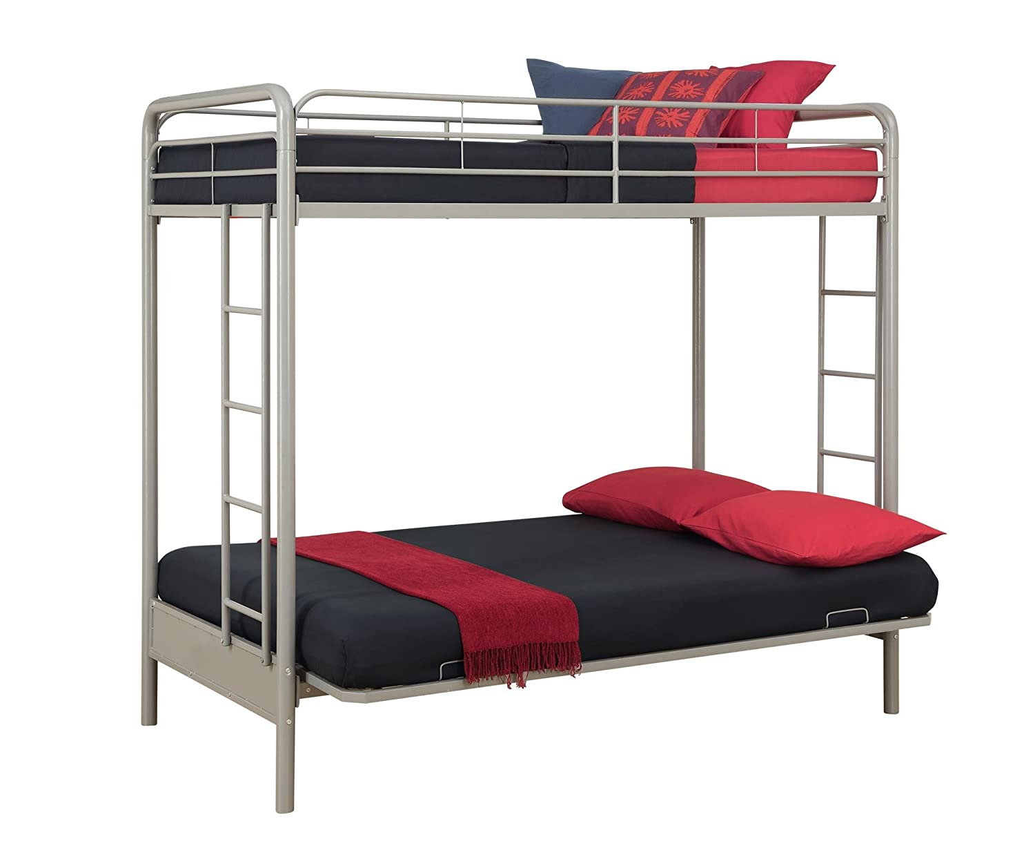 amazon    dorel home products twin over full futon bunk bed silver   color  silver  kitchen  u0026 dining amazon    dorel home products twin over full futon bunk bed      rh   amazon