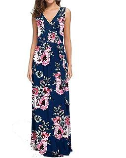 2d03236f274d POKWAI Women Sleeveless Maxi Dress Casual Long Dresses Beach Dresses  Bohemian Printed Dresses