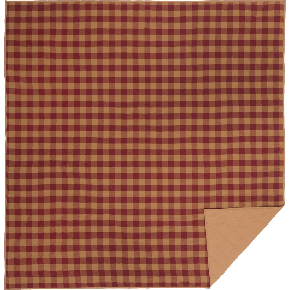 VHC Brands Primitive Bedding Burgundy Check Quilted Coverlet Queen 42378