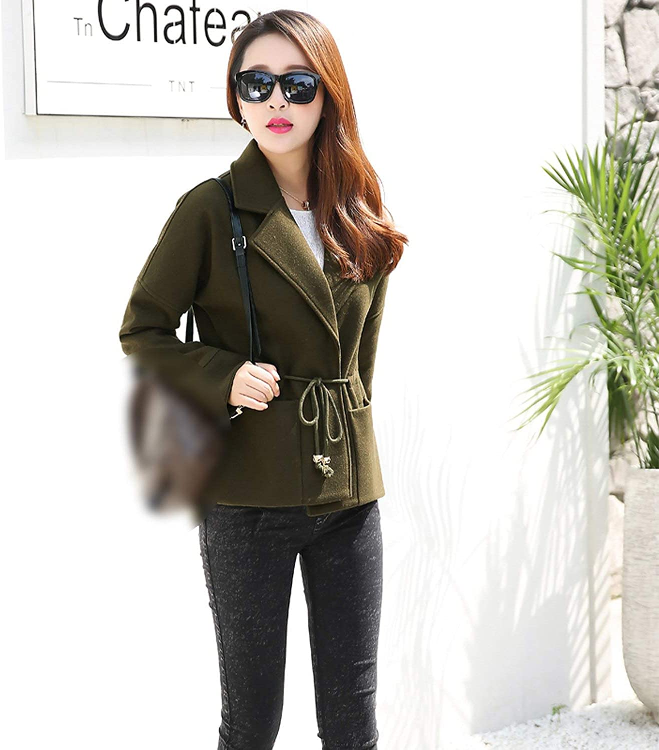 and Winter Short Woolen Coat Slim Casual Outerwear Clothing Solid Nine Sleeves Jacket,Beige,M