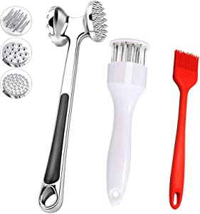 Meat Tenderizer Hammer Needle Stainless Steel Mallet and Silicone Brush 3 Pack, Premium Food Grade Tender Meat Pounde Tools Dishwasher for Home Kitchen BBQ (3 Pack)