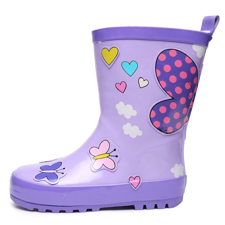 UBELLA Kids Boys Girls Cute Printed Waterproof Slip-on Rubber Rain Boots Toddler//Little Kids