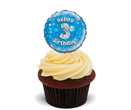Happy 3rd Birthday Edible Cake Decorations Boy Blue