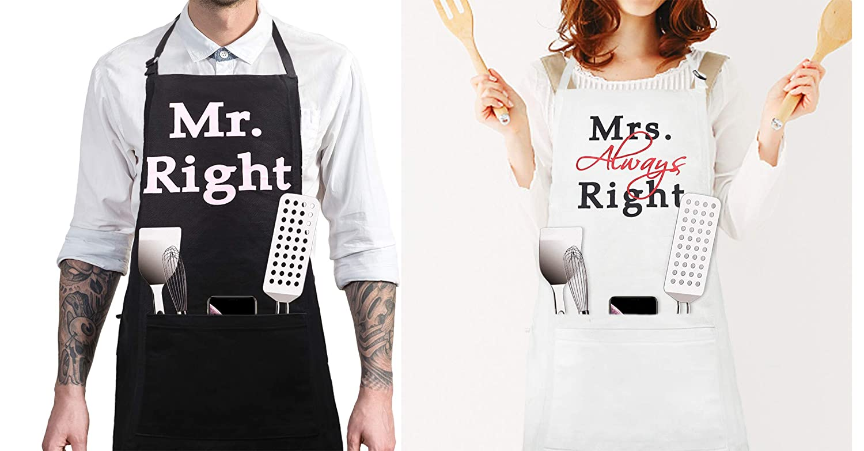 iMod Mr and Mrs Aprons Adjustable Neck Bib Apron with Deep Pocket Grilling Chef Cook (Set of 2)