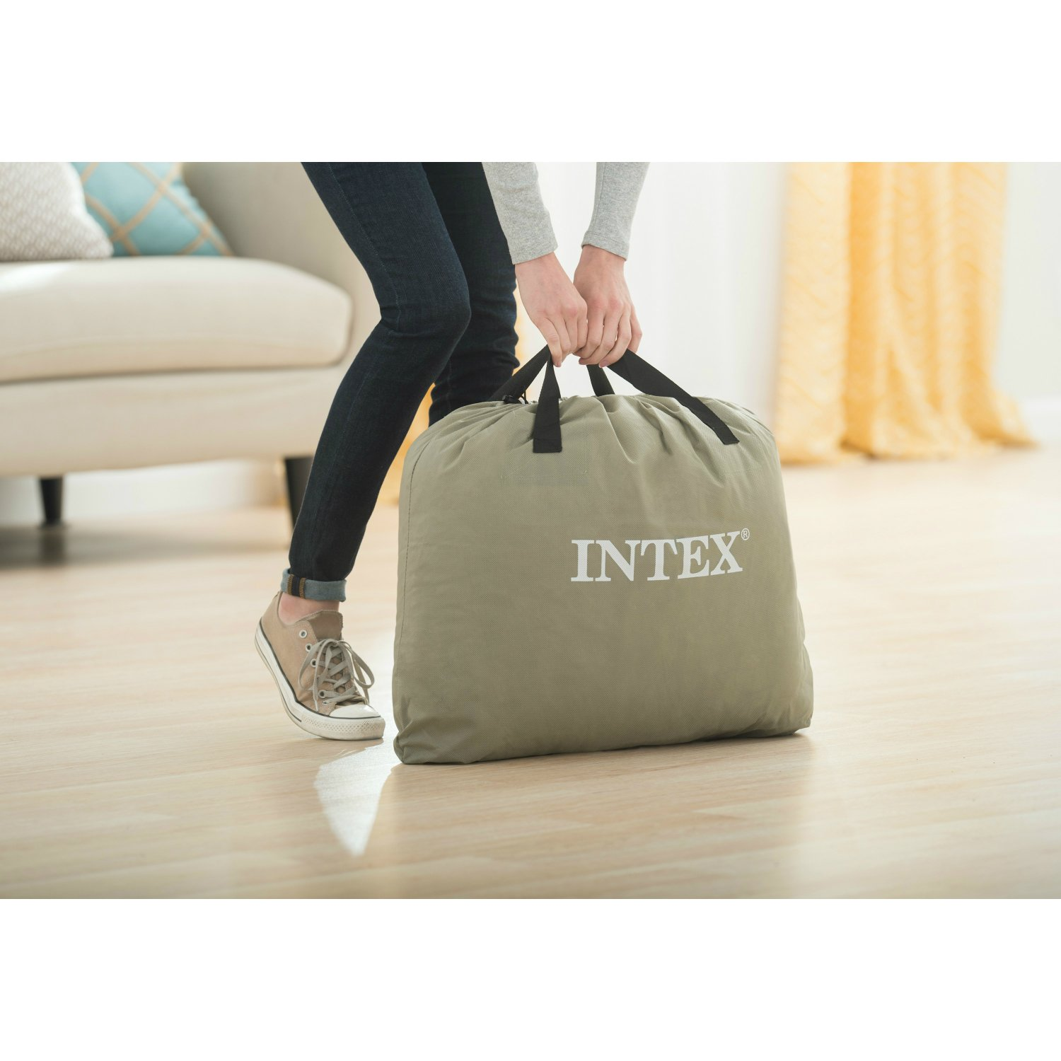 Intex Pillow Rest Classic Airbed with Built-in Pillow and Electric Pump, Queen 66777E