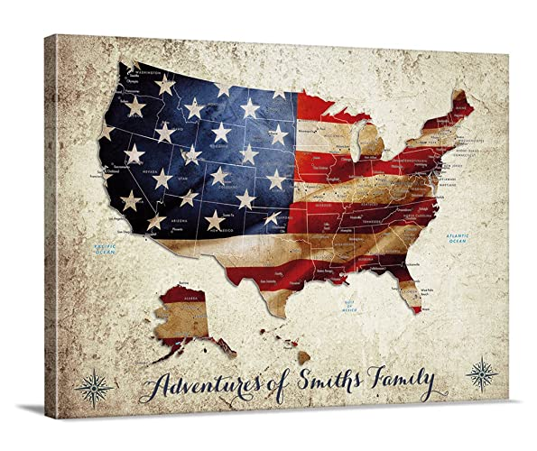 us map push pin wall art canvas print personalized usa map adventures wall art canvas