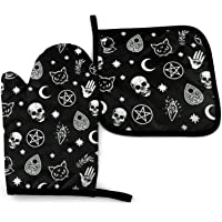 MSGUIDE Fashion Skull Cat Oven Mitts and Pot Holders, 356℉ Heat Resistant Oven Gloves Soft Cotton Lining Gloves for…