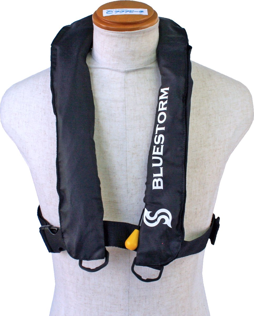 BSJ-2300RS ブラック 手動膨張式ライフジャケット サスペンダータイプ(肩掛け式) BLUESTORM 高階救命器具 新基準品   B01N75WMR5