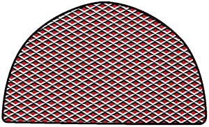 Non-Slip Bath Hotel Mats Geometric,Abstract Relief Pattern Vibrant Colored Checkered Mosaic Grid Print,Vermilion Black White,W24 x L16 Half Round Rugs for Sale