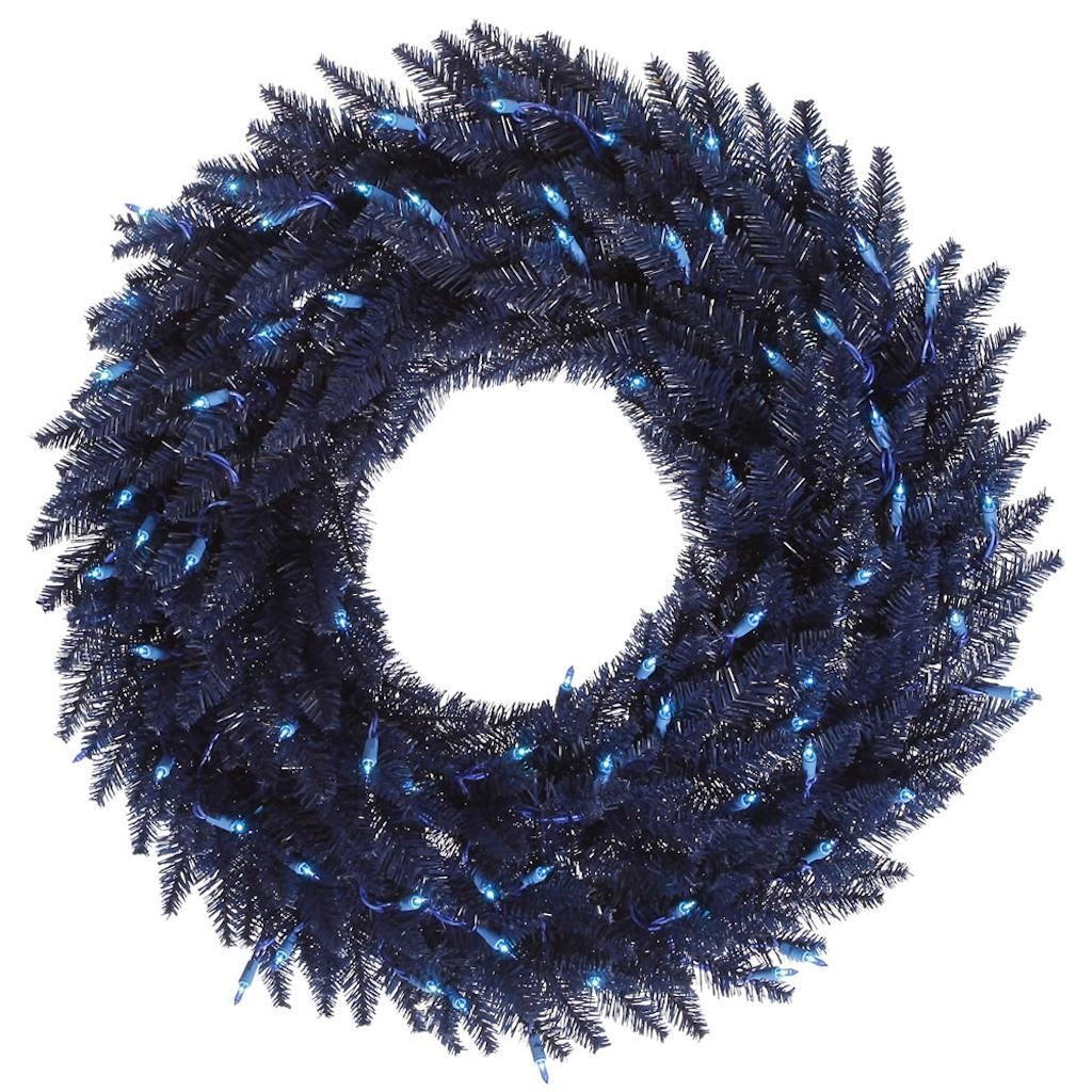 Vickerman K160749LED Wreath with 480 PVC tips & 150 Dura-lit LED Italian Style lights on wire, 48'' x 48'', Navy Blue