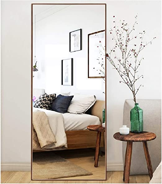 Amazon Com Crossrobbin Thin Frame Floor Mirror Walnut 65 X22