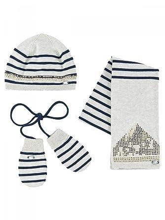 71de00a3e03 IKKS-Bonnet écharpe Gants Maille Coton Blanc Ivoire bébé Fille ...