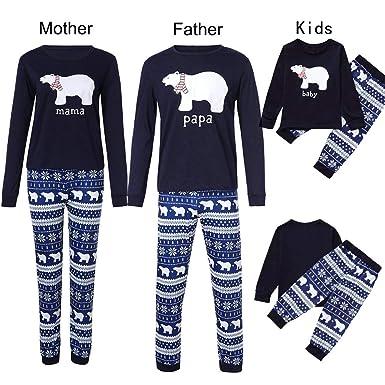 amazoncom coppen 2018 family christmas pajamas set bear topsnowflake pants set clothes clothing