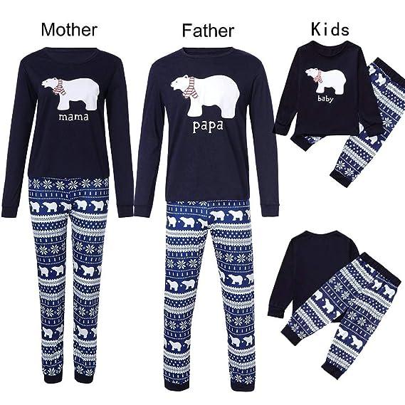 Gusspower Ropa Conjunto de Pijamas Familiares de Navidad para Familia Padre y Madre y Bebé Blusa