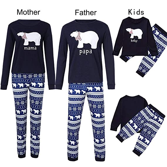 K-youth Conjunto de Pijamas Ropa Familiar Navidad Fiesta Oso Impresión Camisetas Manga Larga Blusa