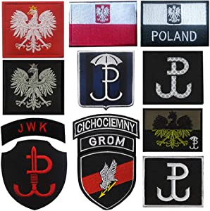 Oyster-Patch Poland Police Flag Security Forces Hook Backing Red & Black Patch (12Pcs)
