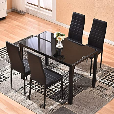 Dining Table With Chairs 4homart 5 Pcs Glass Dining Kitchen Table Set Modern Tempered Glass Top Table And Pu Leather Chairs With 4 Chairs Dining Room