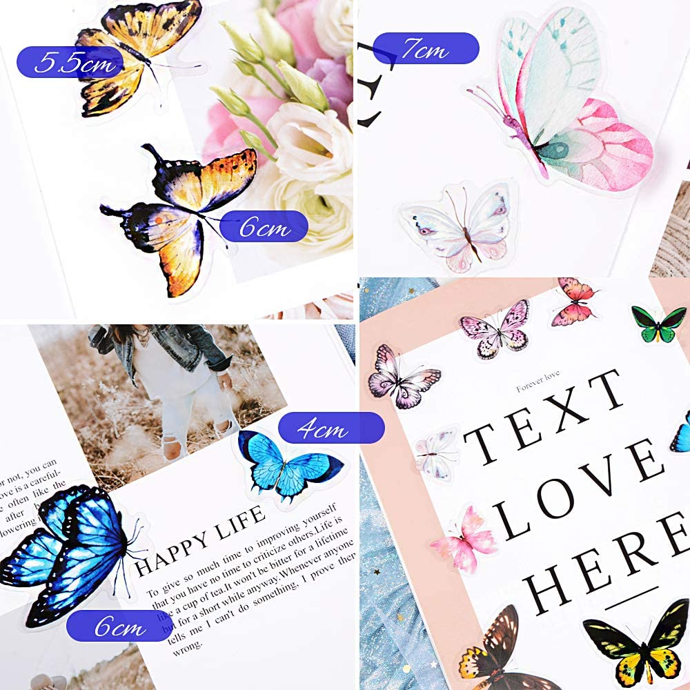 VINFUTUR 200Pcs 100 Patterns Scrapbook Stickers Washi Flower Butterfly Plant Animal Stickers Self Adhesive Decorative Stickers for Scrapbook A Notebook Card Album Journal Letters