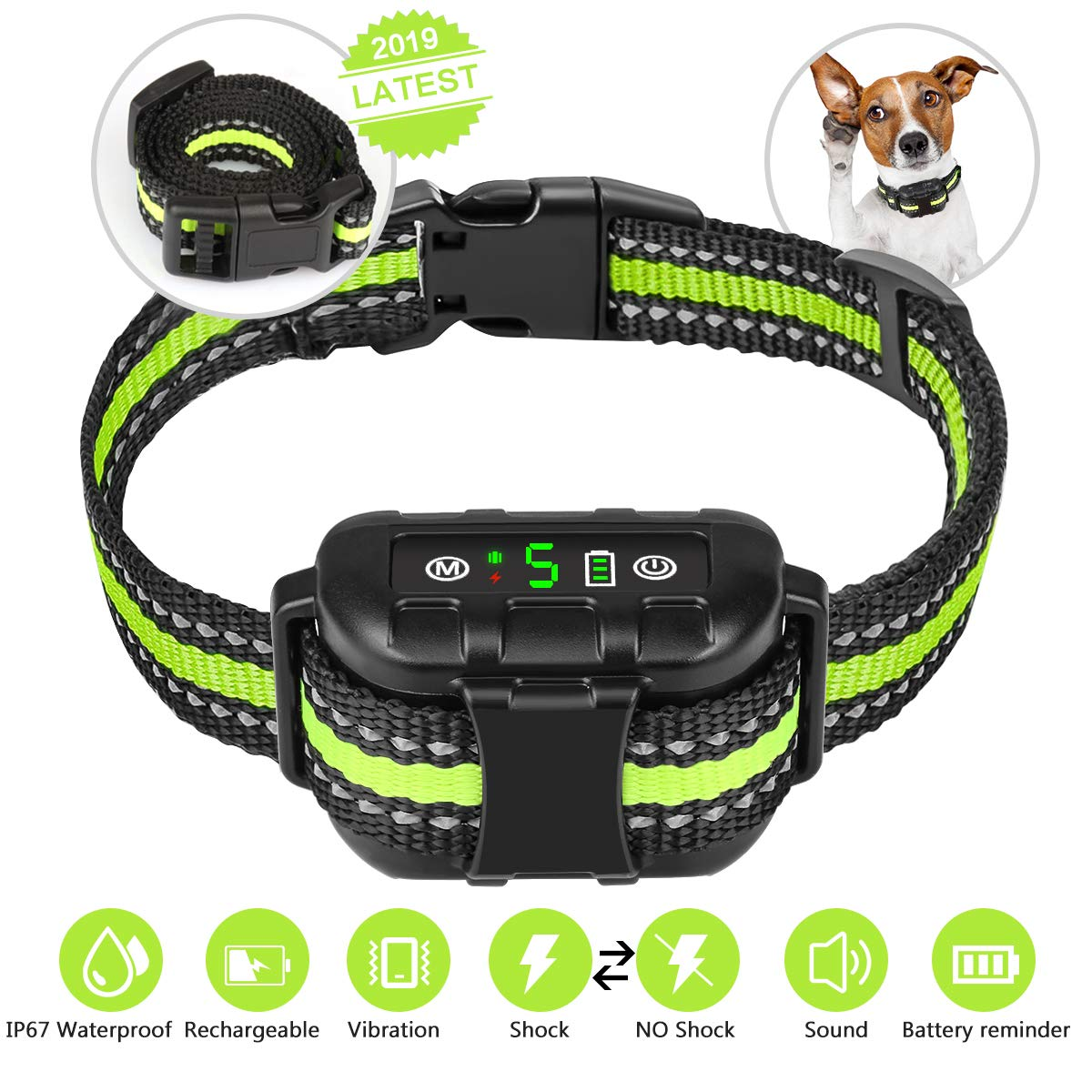 2019 Upgraded Version Bark Collar for Small Medium Large Dogs,Nycetek No Bark Collar with 2 Modes,Rechargeable Dog Bark Collar-Beep Vibration Static Shock IP67 Waterproof,Bark Collar No Pain for Dog