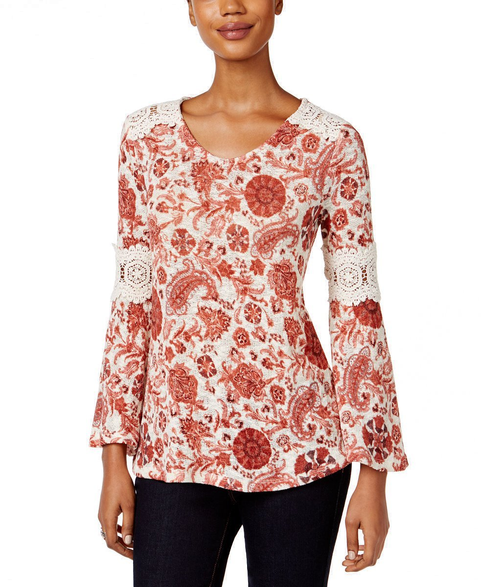 Style & Co. Petite Printed Crochet-Trim Top in Rich Auburn Combo (Petite Large)