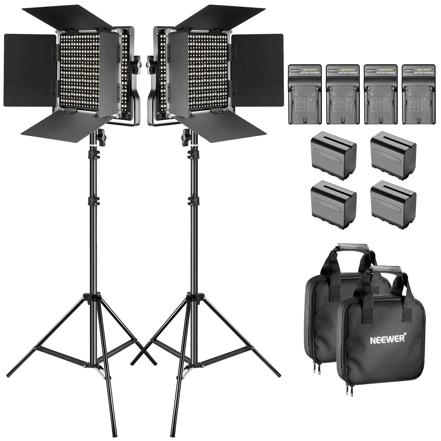Neewer Bi-Color LED Video Light and Stand Kit with Battery and Charger-660 LED with U Bracket and Barndoor(3200-5600K, CRI 96+), 3-6.5 Feet Adjustable Light Stand for Studio, YouTube Shooting (2 pack) by Neewer (Image #1)