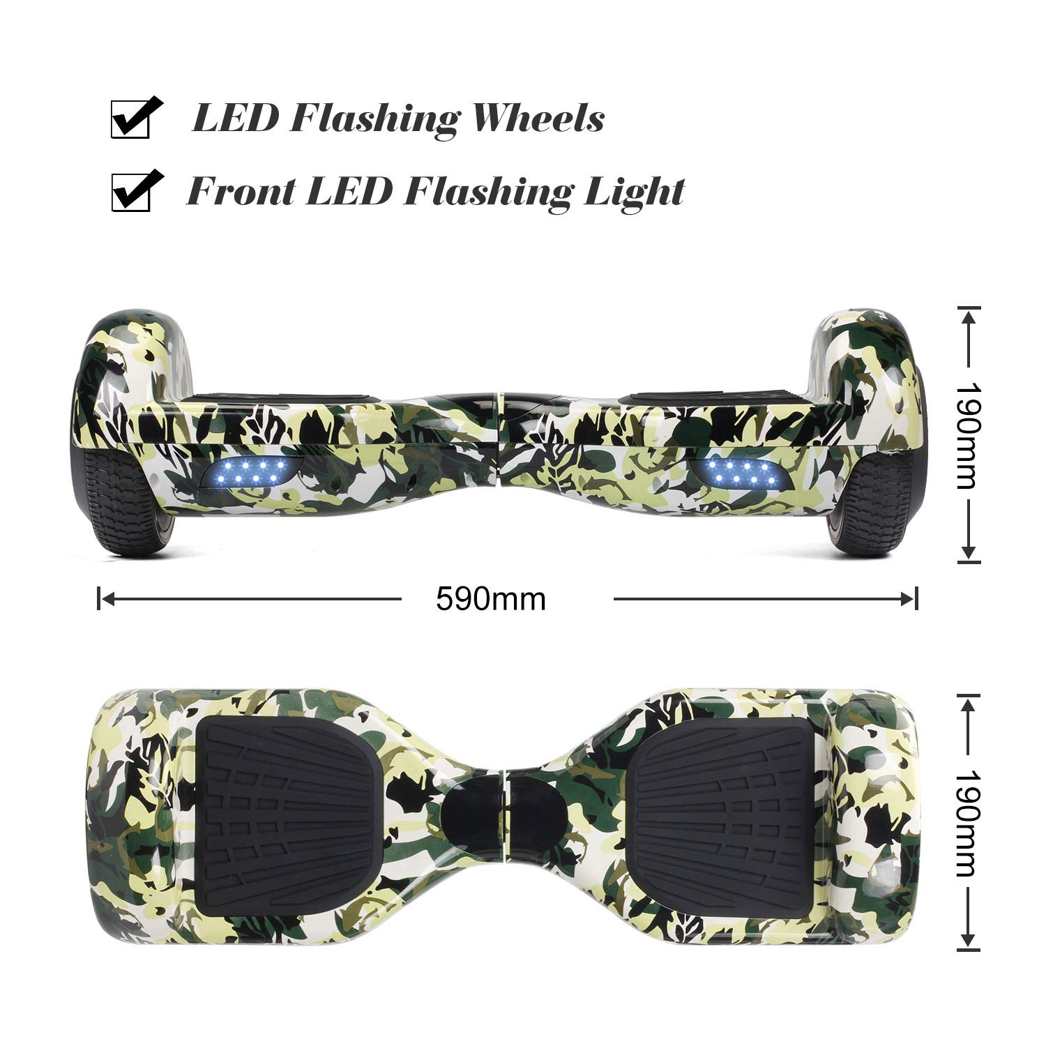 SISIGAD Hoverboard Self Balancing Scooter 6.5'' Two-Wheel Self Balancing Hoverboard with LED Lights Electric Scooter for Adult Kids Gift UL 2272 Certified Fun Edition - Woodland Camo by SISIGAD (Image #2)