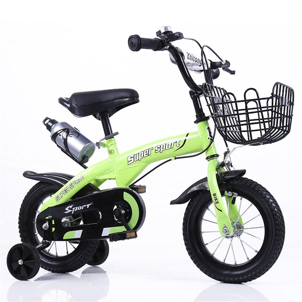 子供の自転車12|14|16|18インチ屋外の子供赤ちゃんキッドマウンテンバイク黒のトレーニングホイールで3-9歳の男の子の女の子のギフト|アイアンバスケット|水ボトルセーフグリーン B078GN2CQV 12インチ