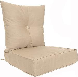 RULU 02186 Patio Cushion Outdoor/Indoor Sunbrella, Seat 22x22x6 inch + Back 23x23x7 inch, Heather Beige