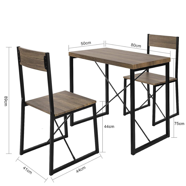 SoBuy OGT19 N 3 teilig Essgruppe Esstisch mit 2 Stühlen