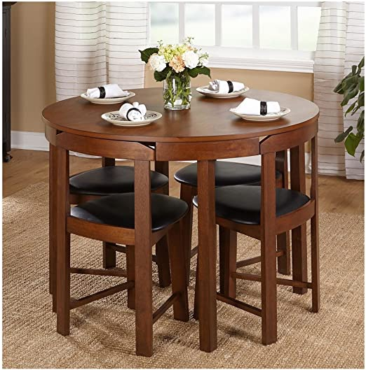 Hideaway Dining Table Home Low Back Harrisburg Tobey Compact Round Dining  Set Space-Saving Design Foam Seat Cushions Round Dining Table And Four ...