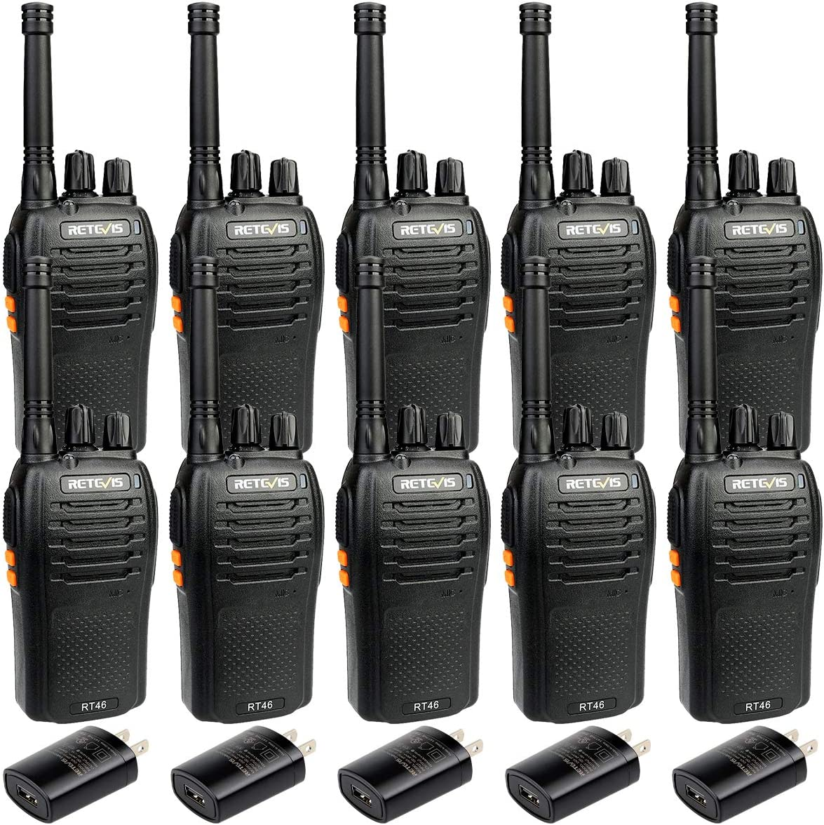 Retevis RT46 Walkie Talkies Two Way Radio Long Range with Earpieces Emergency Flashlight SOS AA Dual Power VOX 2 Way Radio Rechargeable 10 Pack