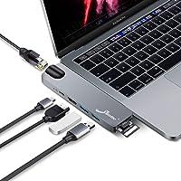 """Macbook Pro Hub Adapter, EliveBuy 7 in 1 Aluminium Hub mit Thunderbolt 3/4K HDMI/Gigabit Ethernet Port/SD/Micro SD Kartenleser und USB 3.0 Port für MacBook Pro 2018/2017/2016, 13""""/15"""""""