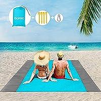 ISOPHO Alfombra de Playa Esterilla Playa, Manta Picnic Impermeable Manta de Picnic 274X 243cm Manta de Playa con 4…
