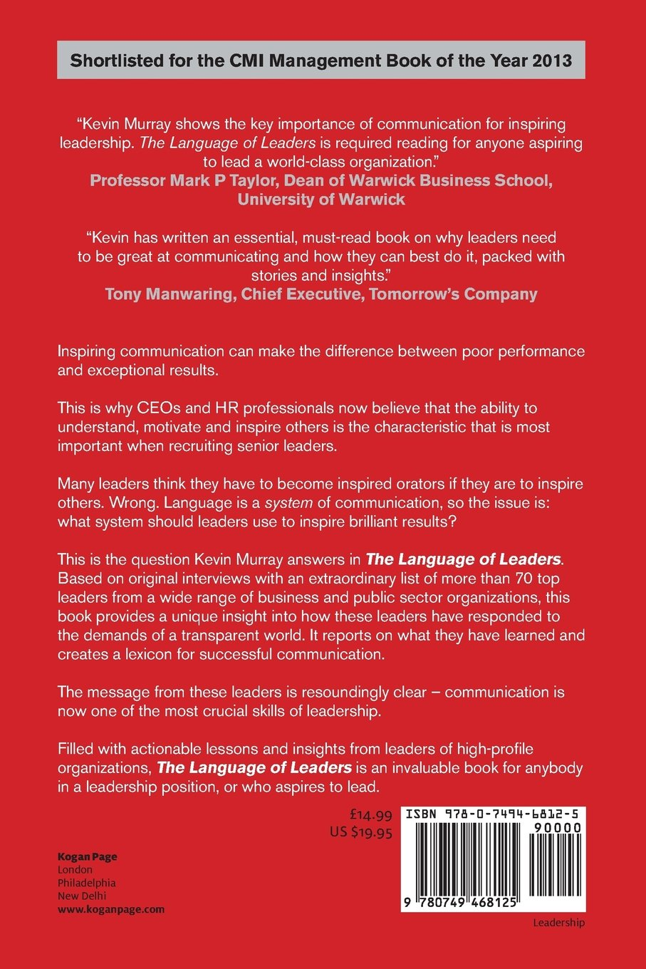 The Language of Leaders: How Top CEOs Communicate to Inspire, Influence and Achieve Results by Kogan Page