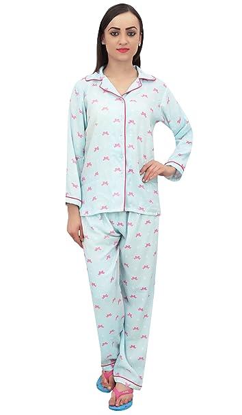730fadd674 Bimba Sky Blue Gift Ribbon Print Camisa para Mujer con Pantalones De Pijama  2 Piezas Nightwear