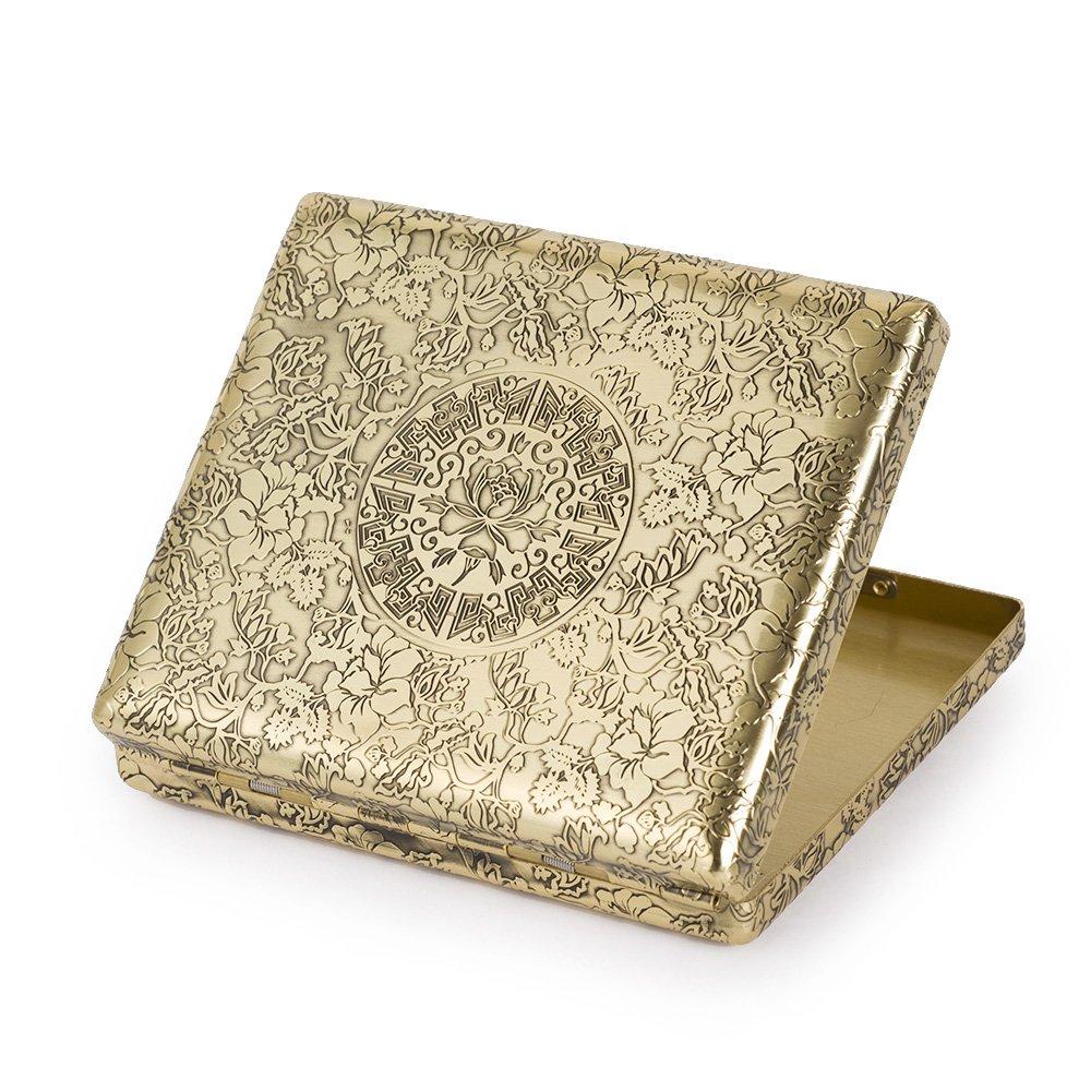 6 Sides Engraved Peonies Pure Copper Metal Cigarette Case Holder for Regular Cigarettes