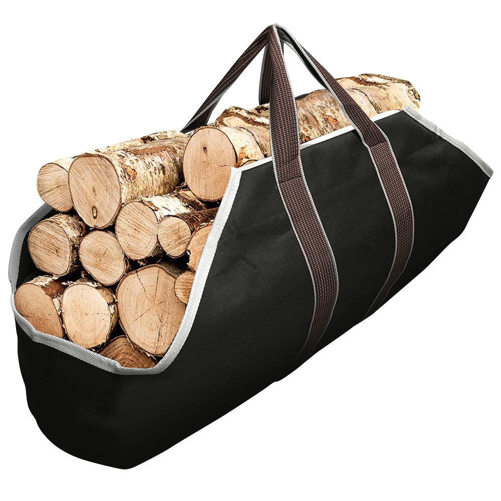 Large Canvas Log Tote Bag Carrier Indoor Fireplace Firewood Totes Log Holders Round Woodpile Rack Fire Wood Carriers Carrying for Outdoor Tubular Birchwood Stand by Hearth Stove Tools Set Basket by Amagabeli
