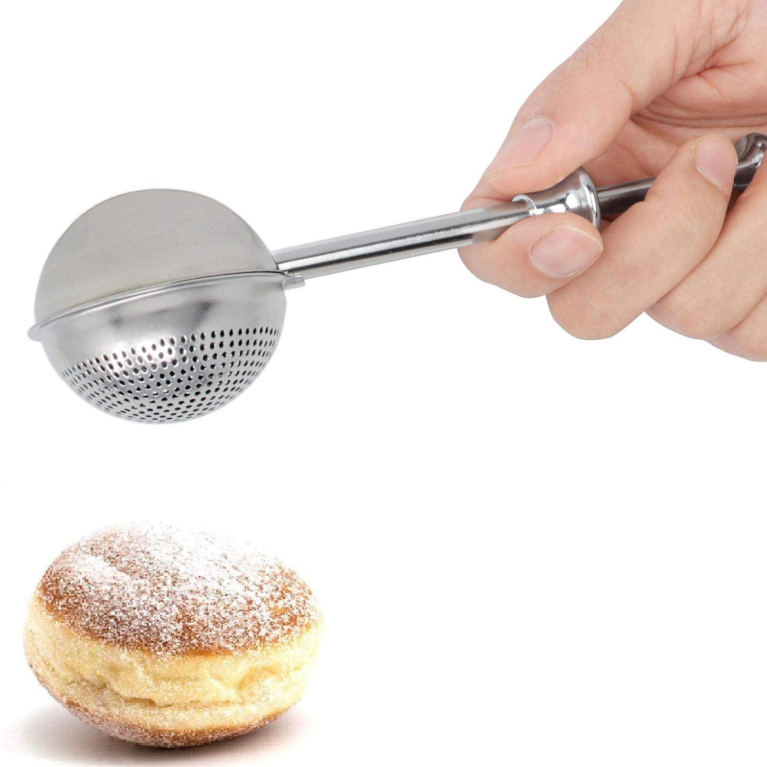 HULISEN Flour Duster for Baking, with Spring Handle, One-Handed Operation, 18/8 Stainless Stee Pick Up and Dust Flour Sifter, Dusting Wand for Sugar, Flour, and Spices