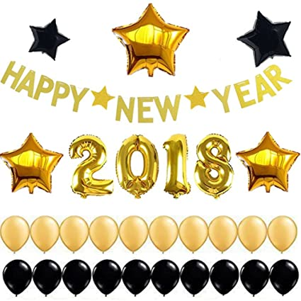 2018 gold number balloons christmas decorations happy new year banner decorations gold 2018 balloons gold stars