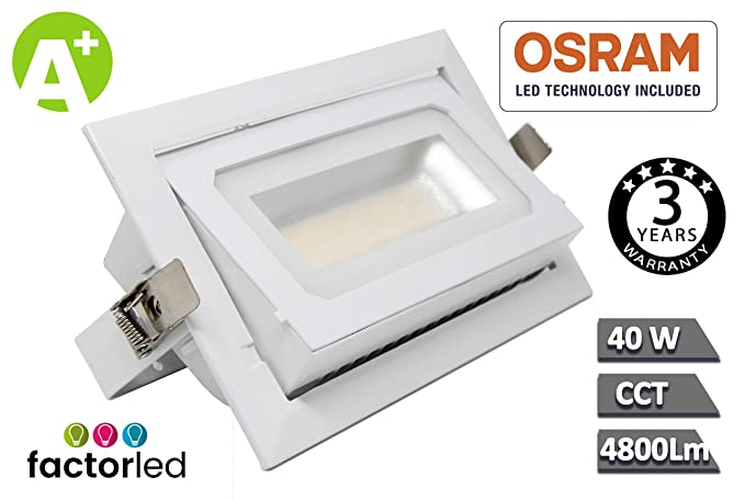 FactorLED Foco Proyector LED 40W Osram Chip, Rectangular 120º ...