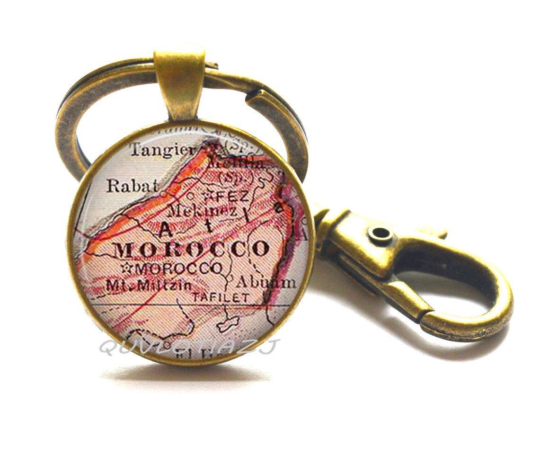 Amazon.com: Marruecos Mapa llavero, mapa de Marruecos ...
