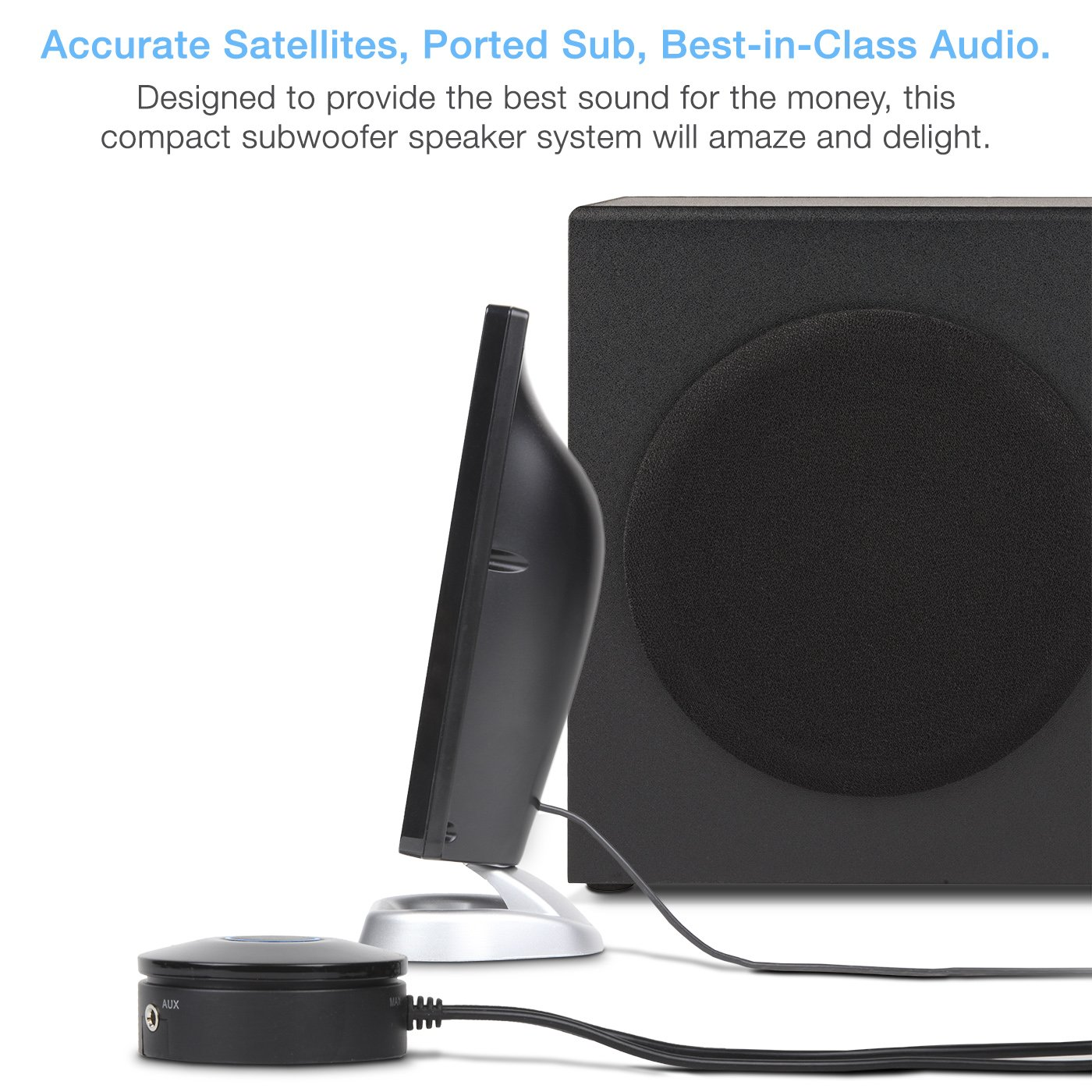 Cyber Acoustics 2.1 Subwoofer Speaker System with 18W of Power – Great for Music, Movies, Gaming, and Multimedia Computer Laptops (CA-3090) by Cyber Acoustics (Image #5)