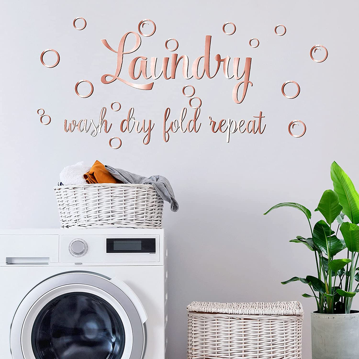 durony Letters for Wall Decor Mirror Stickers Acrylic Mirror Wall Decors Sticker for Living Room Laundry Room, Rose Gold